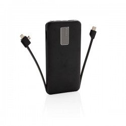 10.000 mAh powerbank with integrated cable, black