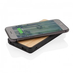 Bamboo 8000 mAh Wireless Charging Fashion Powerbank, black