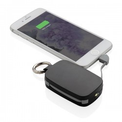 1.200 mAh Keychain Powerbank with integrated cables, black