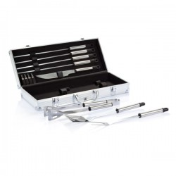 12 pcs barbecue set in aluminium box, silver