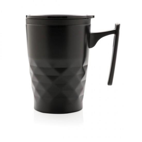 Geometric coffee tumbler, black