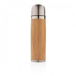 Bamboo vacuum travel flask, brown