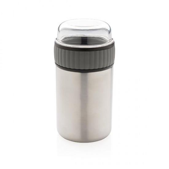 2-in-1 vacuum lunch flask, grey