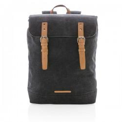 Canvas laptop backpack PVC free, black