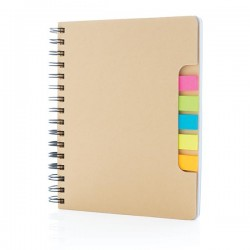 A5 Kraft spiral notebook with sticky notes, brown