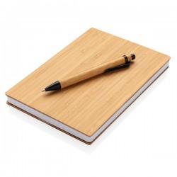 A5 Bamboo notebook & pen set, brown