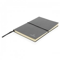 A5 recycled leather notebook, grey