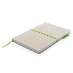 A5 Eco jute cotton notebook, green